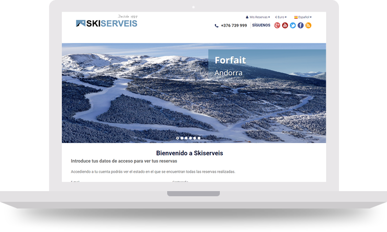 pantalla principal ski serveis - Doblemente